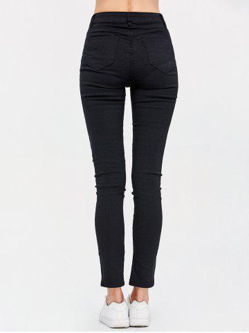Hot High Waist Destroyed Bodycon Jeans - M BLACK Mobile