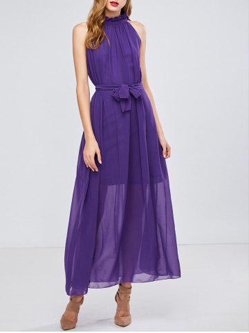 Chic Maxi Long Chiffon Sheer Swing Prom Party Dress - ONE SIZE PURPLE Mobile