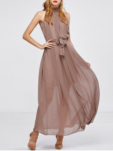 Affordable Maxi Long Chiffon Sheer Swing Prom Party Dress DARK KHAKI ONE SIZE