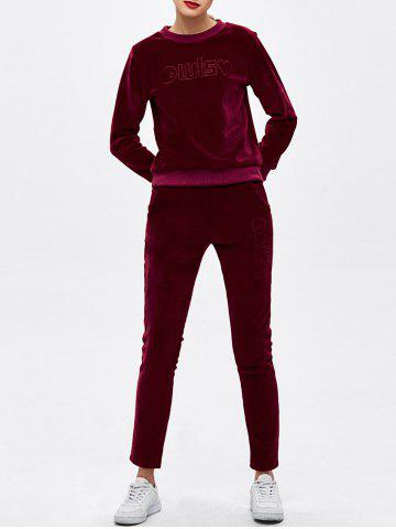 Cheap Crew Neck Letter Embroidered Sweat Suit BURGUNDY M