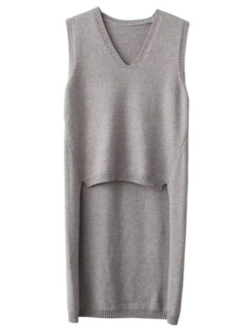 V Neck High Low Vest Sleeveless Jumper Sweater - Gray - One Size