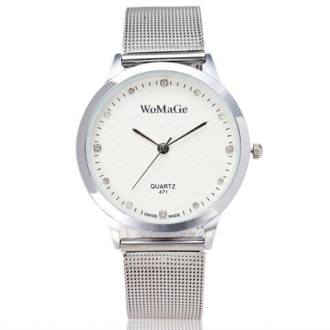Store Rhinestone Stainless Steel Wrist Watch WHITE