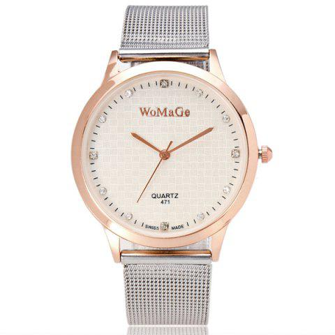 Cheap Rhinestone Stainless Steel Wrist Watch GOLD AND WHITE