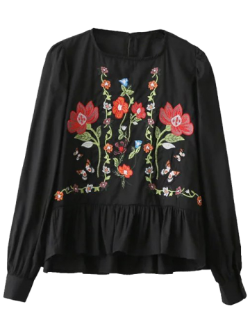 Latest Floral Embroidered Flounce Blouse