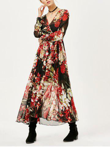 Best See Thru Floral Surplice Chiffon Maxi Dress with Sleeves