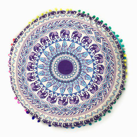 Bedroom Elephant Feather Print Pompon Round Floor Cushion Pillow Case - Purple - One Size