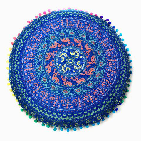 Sofa Paisley Tribal Totem Printed Pompon Round Floor Cushion Pillow Case - Blue - One Size