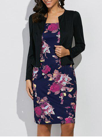 Fashion Long Sleeves Floral Print Sheath Work Dress - XL BLACK AND BLUE Mobile
