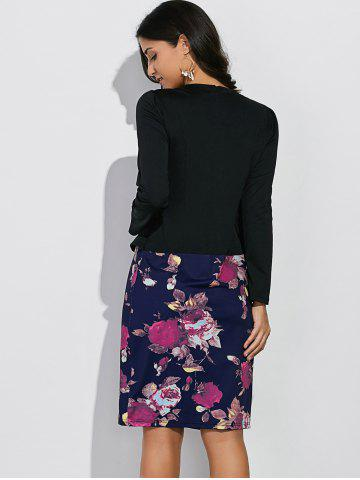 Fancy Long Sleeves Floral Print Sheath Work Dress - 2XL BLACK AND BLUE Mobile