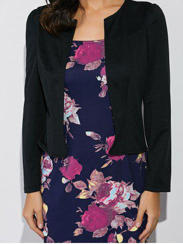 Trendy Long Sleeves Floral Print Sheath Work Dress - 2XL BLACK AND BLUE Mobile