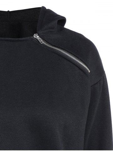 Shops Zipped Pullover Hoodie - 2XL BLACK Mobile