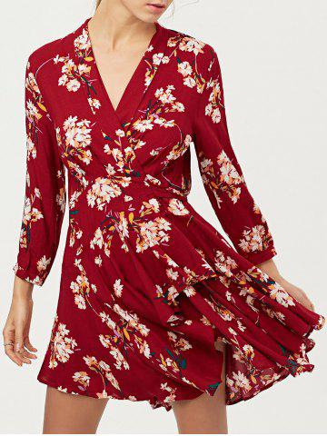 Floral Long Sleeve Wrap Casual Dress - Red - S