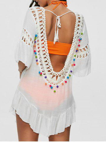 Pompon See-Through Crochet Tunic Beach Cover Up - White - One Size