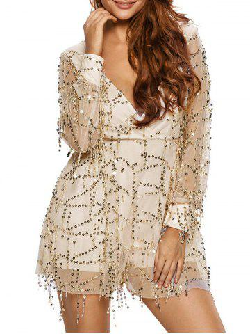Store Plunging Neck Fringed Sequined Romper WHITE M