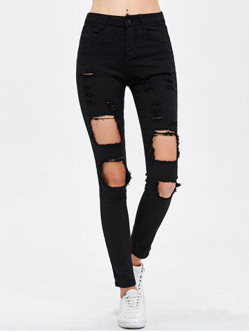 Trendy Destroyed Bodycon Jeans BLACK L