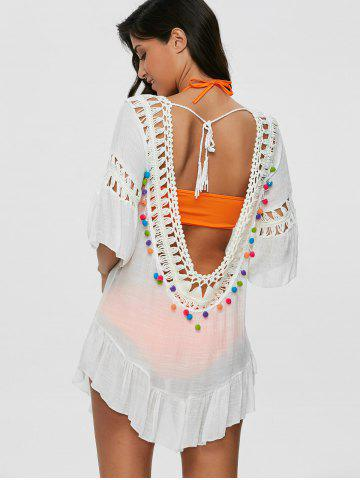 727713d591 Pompon See-Through Crochet Tunic Beach Cover Up