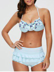 Halter Flounce Print Bikini Set with Cover-Up