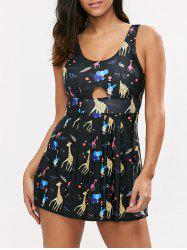 Cartoon Graphic Backless One Piece Swim Dress