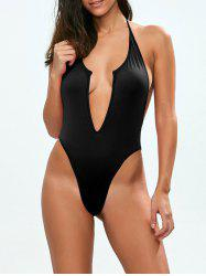 Backless Low Cut Halter One Piece Swimsuit -
