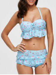Halter Flounce Print Bikini Set with Lace Cover-Up