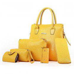 Fashion Style Crocodile Imprimer et Tote Bag Zipper Design Femmes - Jaune