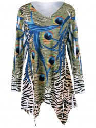 Cool Long Sleeve Plus Size Zebra Print Asymmetrical T-Shirt