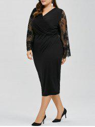 Long Sleeves Splicing Lace Bodycon Dress