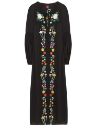 Floral Embroidered Long Sleeve Midi Dress -