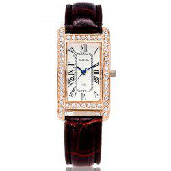 Rhinestone Faux Leather Square Watch