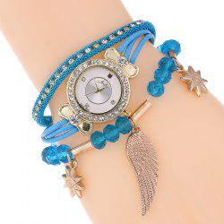 Rhinestone Wing Beads Bracelet Watch - LAKE BLUE