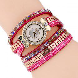 Rhinestoned Faux Leather Bowknot Watch