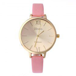 Faux Leather Roman Numerals Quartz Watch -
