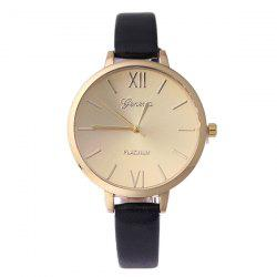 Faux Leather Roman Numerals Quartz Watch - BLACK