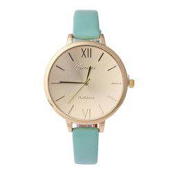 Faux Leather Roman Numerals Quartz Watch - MINT
