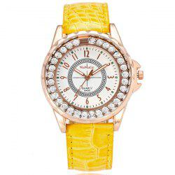 Rhinestone Faux Leather Number Watch