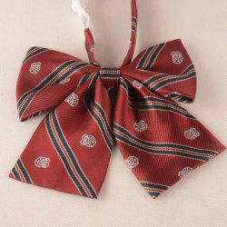 Stripe Badge Embroidered Bow Tie
