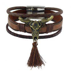 Cow Head Tassel Faux Leather Bracelet - BROWN