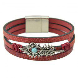 Punk Layered Leaf Faux Leather Bracelet