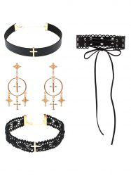 Cross Lace Faux Leather Necklace and Earrings