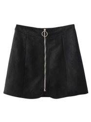 Zippered Suede Mini Skirt