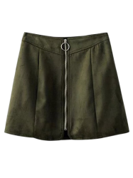 Zippered Suede Mini Skirt - BLACKISH GREEN
