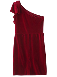 One Shoulder Velvet Short Ruffle Dress