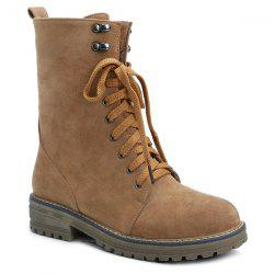 Suede Tie Up Short Boots