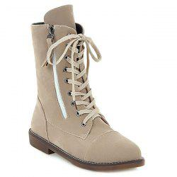 Tie Up Zip Short Boots - BEIGE