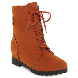 Suede Hidden Wedge Lace Up Boots