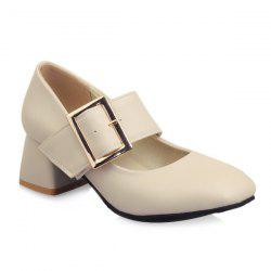 Buckle Strap Faux Leather Pumps