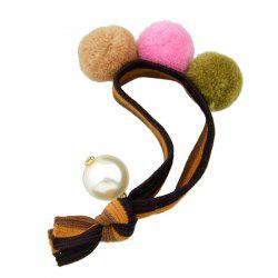 Elastic Hairband with Small Pom Ball Faux Pearl