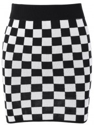 Checked Mini Knit Plaid Pencil Skirt