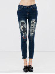 Low Waisted Girl Printed Cropped Skinny Jeans - DEEP BLUE