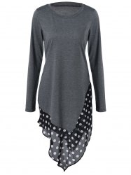 Asymmetrical Polka Dot Long Sleeve Tee